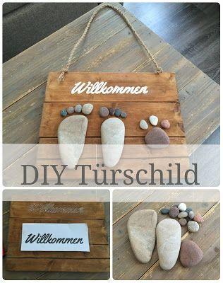 DIY Willkommens-Türschild aus Holz