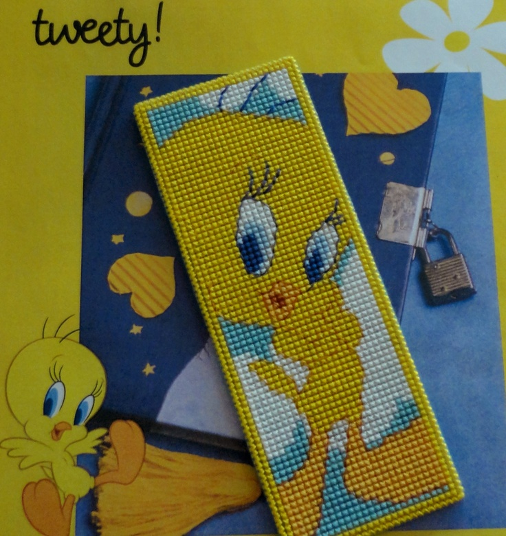 Made by Marian. Bookmark Tweety embroidered on plastic canvas. A 'Royal Paris' cross stitch Bookmark kit.