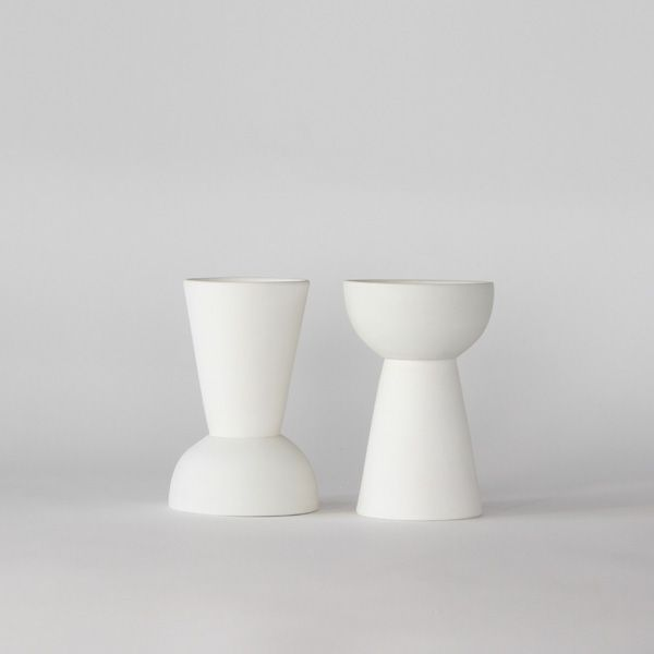 Extrawhite matte ceramic double vase+pot. High quality handmade ceramics Designed+Made by Decovery | Essential Details.