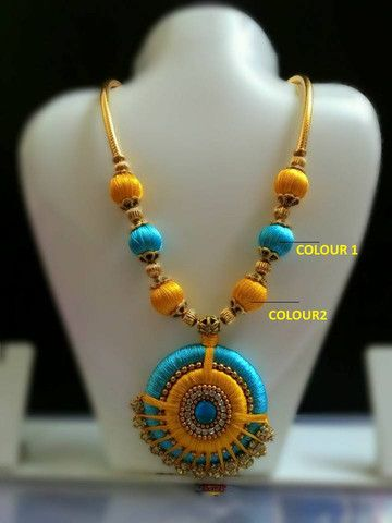 Blue and Yellow Silk Thread Necklace with Stone Studded Pendant