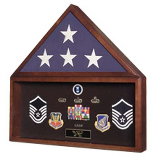 Navy Seals Flag plus Military Medals Display Case - Wall Mount Hand Made By Veterans