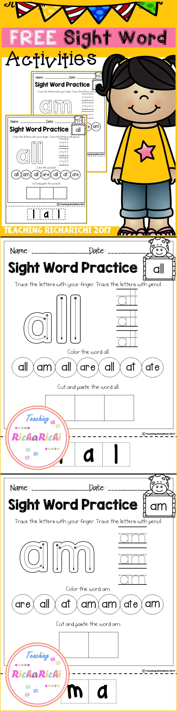 Free sight word sheets