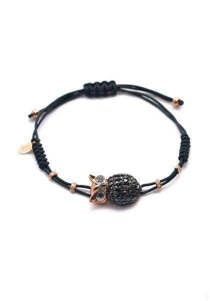 Pippo Perez 1.91ctw Black & White Diamond Owl Cord Bracelet | Oster Jewelers, Denver Colorado