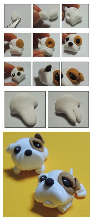 Como hacer un perro buldog en porcelana fria