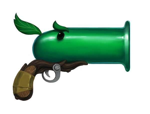 Buy toy guns that shoot balls instead of nerf darts. Use or paint balls pea green and decorate the gun like a pea shooter. Set up cans, bottles, or bowling pins that are decorated like zombies to be shot down.