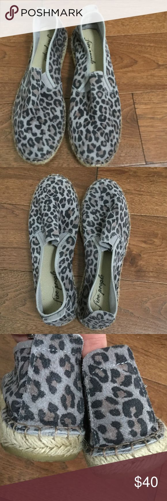 FREE PEOPLE GREY ESPADRILLES FREE PEOPLE GREY PANTHER ESPADRILLES. COMES WITH BOX. HARDLY WORN. GORGEOUS PATTERN. VERY COMFORTABLE Free People Shoes Espadrilles