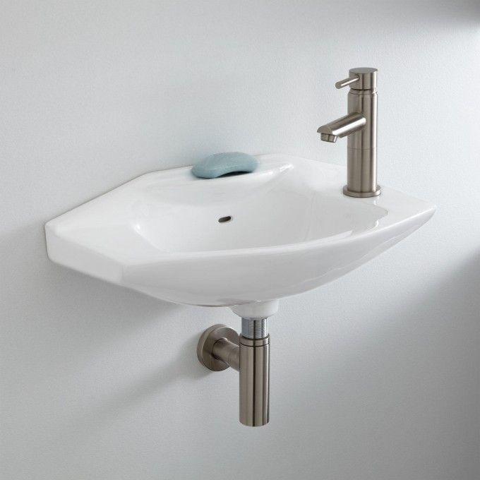 Leo Porcelain Wall Mount Bathroom Sink Wall Mounted