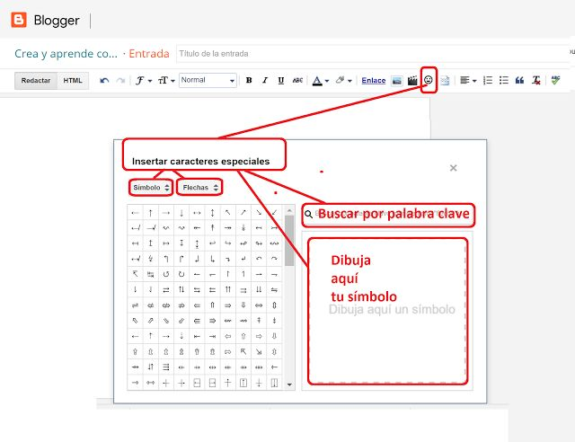 Crea y aprende con Laura: Botón de Caracteres Especiales y Emojis en Blogger...