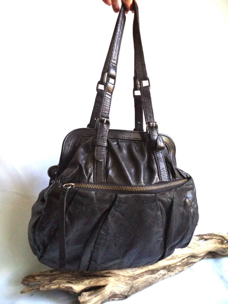 AllSaints Spitalfields Rare Black Leather Biker Goth Tote Slouch Bag handbag M L | eBay
