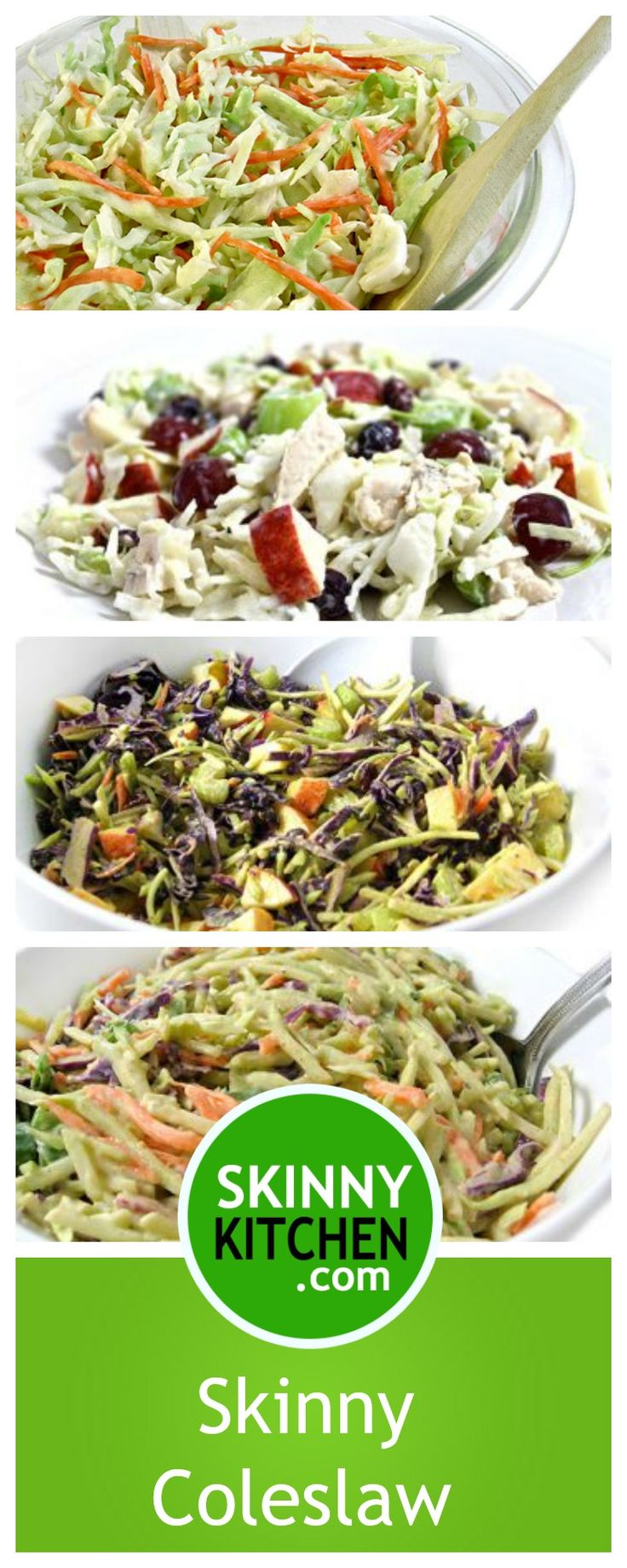 6 Wonderful, Skinny Coleslaw Recipes. Some use cabbage and others use broccoli slaw. All yummy! #coleslaw #glutenfree #smartpoints http://www.skinnykitchen.com/recipes/6-wonderful-skinny-coleslaw-recipes/
