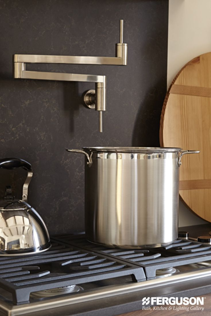 this dxv pot filler extends to great lengths to quickly fill pots both