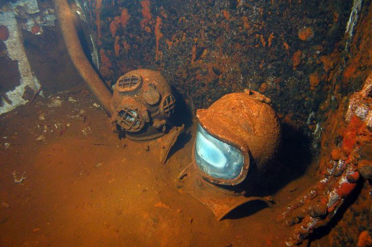 Castle bravo was the biggest USA atomic bomb test on the Bikini atoll. This is the inside of one of the shipwrecks that resulted from it.