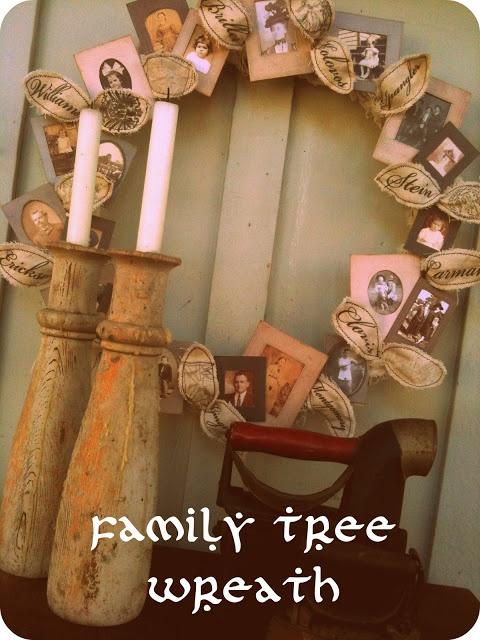Family Tree Wreath Tutorial & Free Printable Vintage Photo Frames