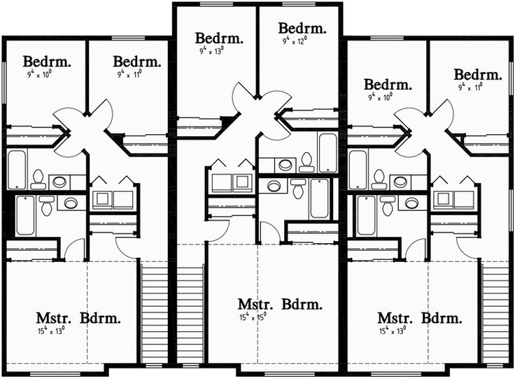 100 best triplex and fourplex house plans images on for Triplex floor plans