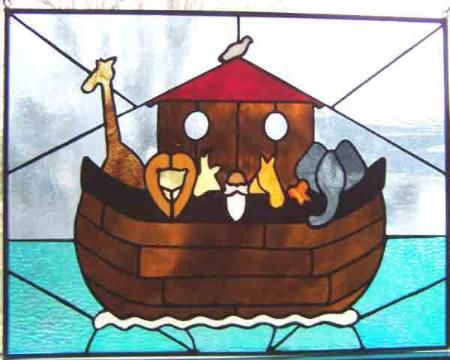 Warner Stained Glass - Online Gallery Depiction of the flood and Noah and the ark of animals spared. Afterwards God sent the symbol of the rainbow.