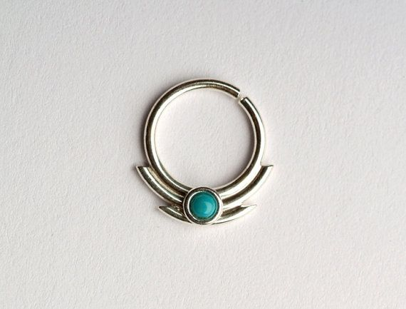 Septum Ring / Nose Ring, With 2mm Genuine Turquoise Stone  with additional 2 sharp edges lines on the bottom 8mm inner diameter - 12mm top - to bottom