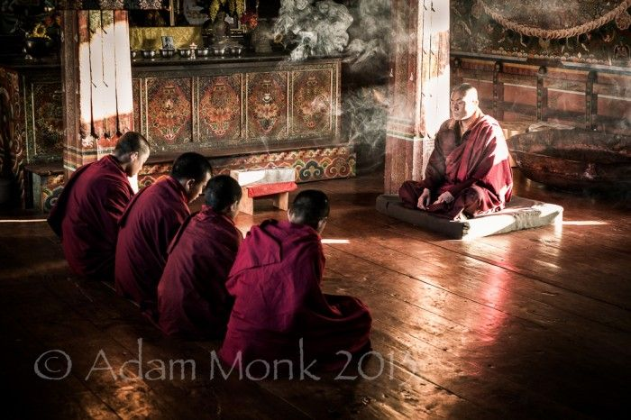 Monks at Gangtey Monastery, Bhutan