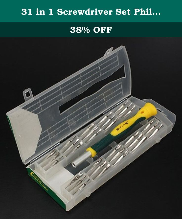 31 in 1 Screwdriver Set Phillips Torx Star Slotted Hex Key Bit. Description : 31 in 1 Screwdriver Set Phillips Torx Star Slotted Hex Key Bit A durable metal set- ideal for all kind of repairs work and a wide range of other intricate job. The set has precision ground chrome vanadium steel tips for durability and comes in a plastic case for easy storage and accessibility. Sizes : Phillips : PH00- PH0- PH1- PH2 Slotted : 1.5mm- 2.0mm- 2.5mm- 3.0mm- 3.5mm- 4.0mm Torx : T4- T5- T6- T7- T8…