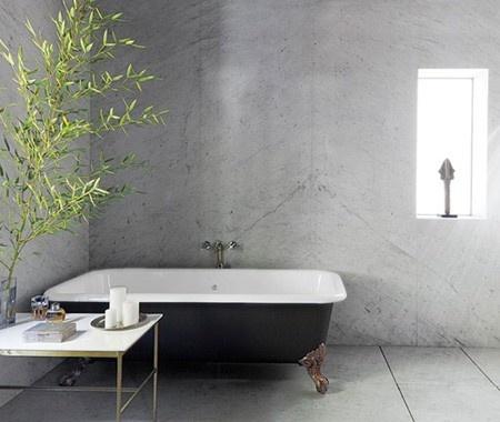 marble walls, vintage claw-foot tub   --adam levine has a good designer!