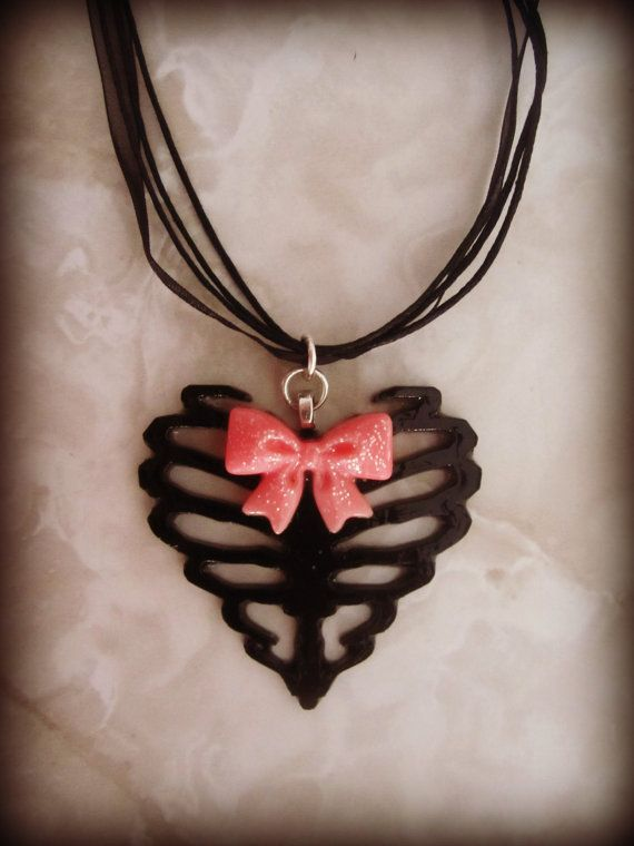 Skeleton Ribcage Heart with Cute Pink Bow by HauntedHairCandy, $11.00