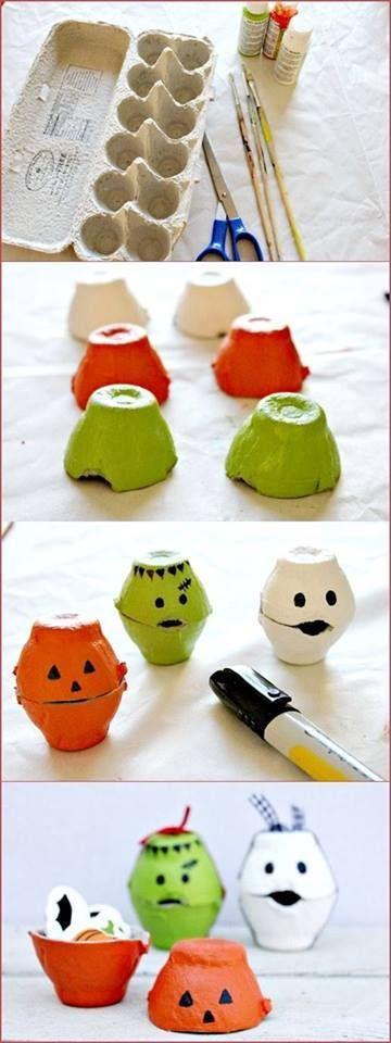 Fabriquer ses décorations d'Halloween avec des boites à oeufs!