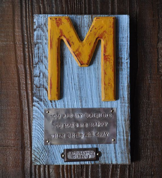 Personalized custom baby gift in Rustic by heartifactsgallery, $55.00. Wonder if I could make one of these myself?