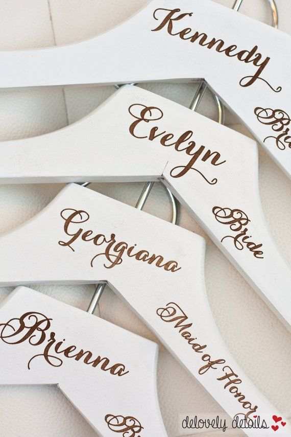 Personalised Wooden Wedding Dress Hangers Bridal party