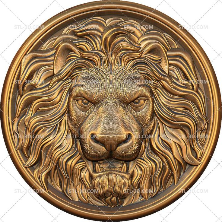 Download STL 3D model for CNC Routers Carved Lion Head