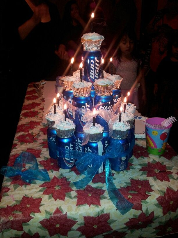 Boyfriend's 21st birthday beer can cake