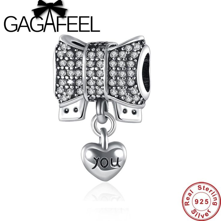 GAGAFEEL Authentic 925 Sterling Silver Knot Heart Charm Fit 3MM Snake Chain Bracelet amp Necklace DIY Jewelry Accessories