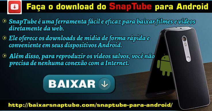 O aplicativo SnapTube permite que você baixe vídeos do YouTube e outros sites. Este SnapTube para Android é uma funcionalidade de download de vídeos da maneira mais rápida. Além disso, você pode baixar arquivos de vídeo em arquivos de áudio. Para mais informações : http://baixarsnaptube.com/snaptube-para-android/