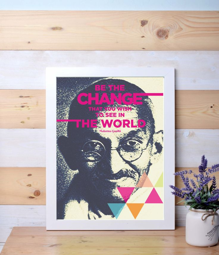 Be The Change, Gandhi, Motivational Quotes, Inspirational, Wall art, Home decor, wall decor by LanternLife on Etsy