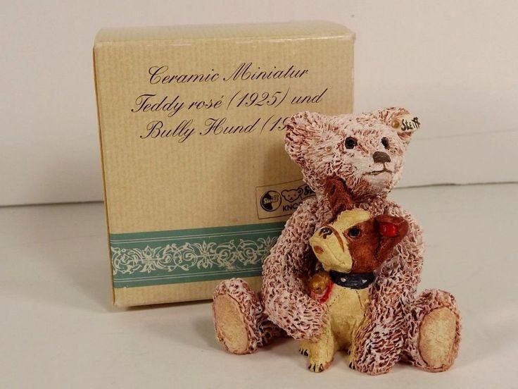 Steiff Teddy Rose Bear Ceramic Miniature Figurine Bully Hund Dog Collectible #Steiff #any