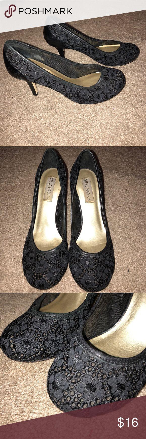 Steve Madden black Heels Lace designed  Leather back  Some scratches on the heel Steve Madden Shoes Heels