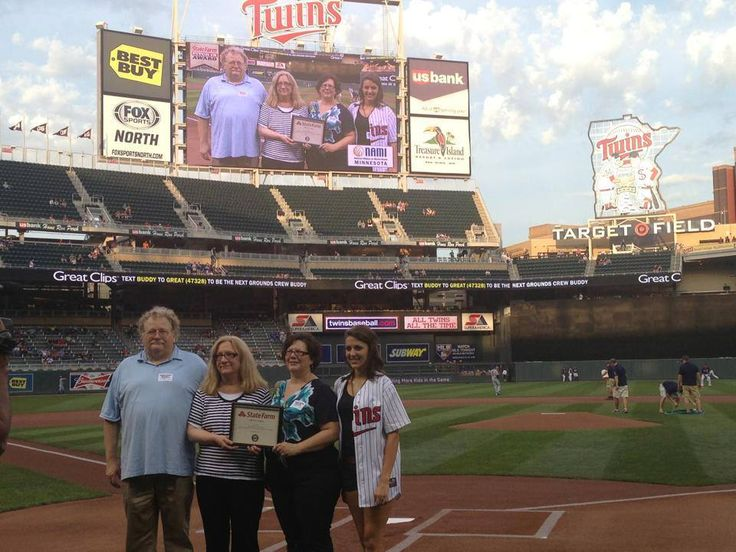 NAMI-MN posted pic 9/6/13; NAMI-MN recognized on the field before TWINS game started tonight! ~That's fearless + awesome NAMI-MN Executive Director Sue Abderholden on left-side of holding award from MN Twins + State Farm!! Awesome! Hope they made an announcement about NAMIWalks-MN on 9/28 at Minnehaha Park?!?! Largest anti-stigma event in MN, w/hopefully over 4,000 walkers this year! Walk On!