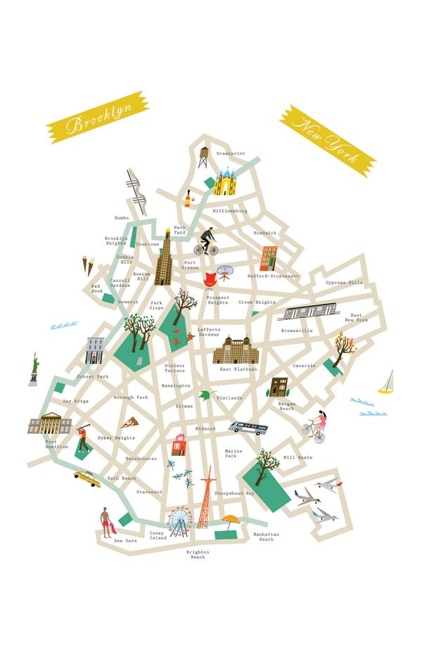 Brooklyn map poster by Lena Corwin