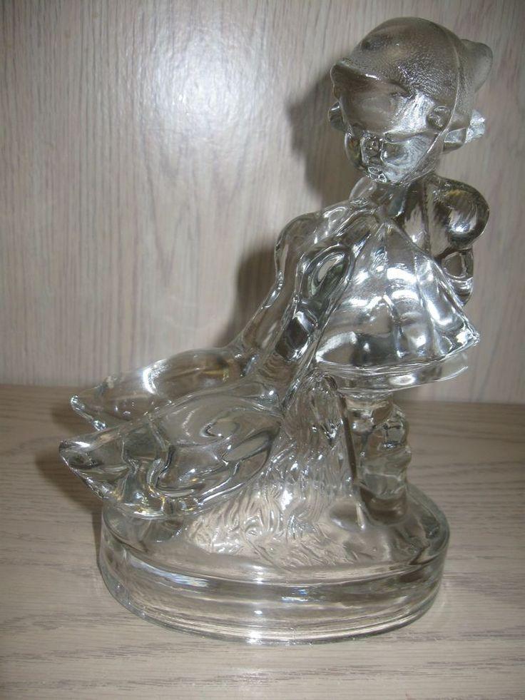 L E Smith Glass Co Goose Girl Crystal Glass Figurine 1944-1973 #LESmithGlassCo