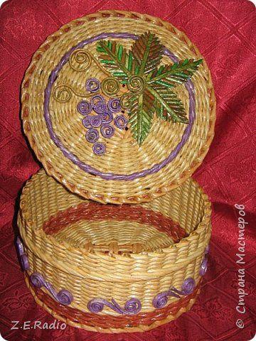 Поделка изделие Плетение Шкатулки корзины   Бумага газетная Трубочки бумажные фото 3
