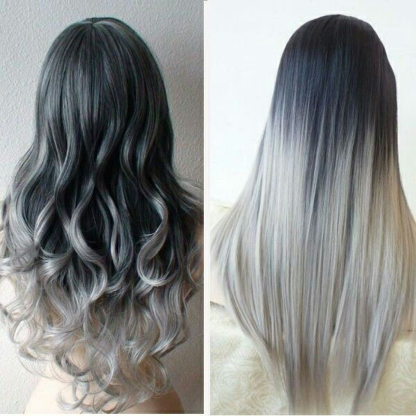Ombre hair. Dark grey to silver hair. Gray hair. Dip dyed hair. Curly hair. Straight hair.