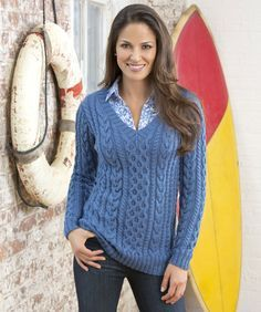 Confident Cables Sweater Free Knitting Pattern #FinaDK #RedHeart no page on rav yet