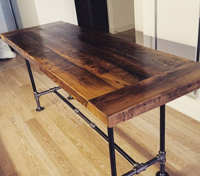 Counter Height Industrial Table : Torontos Distillery District whisky racking harvest table with ...