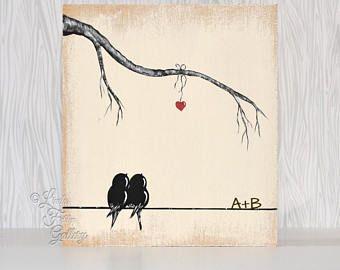 Cadeau rustique pour mari amour cadeau bois signe l'amour amour peinture oiseau oiseaux arbre 5ème cadeau d'anniversaire pour son cadeau de mariage personnalisé pour Couple