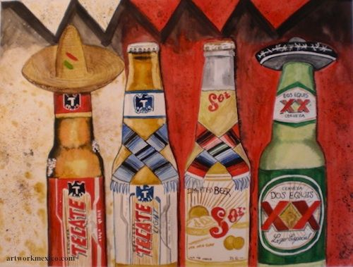 Mexican Beers - Mexican Watercolor Painting - Mexican Culture Paintings | Artwork Mexico