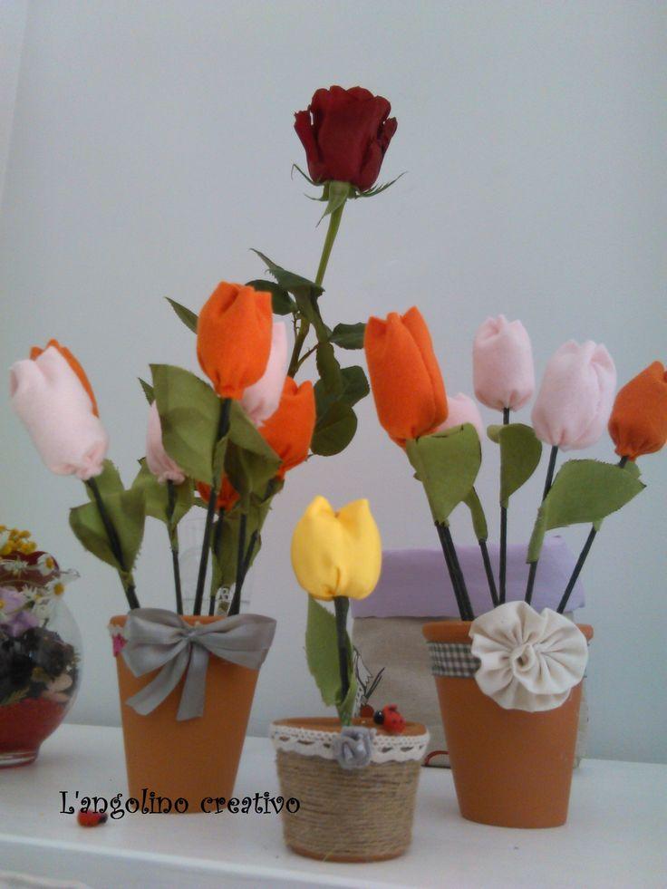 fiori di tulipani in pannolenci
