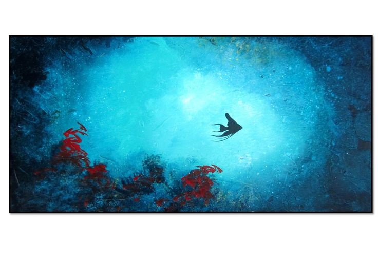 Abstract coral reef fish art aquarium fish painting on for Fish tank paint