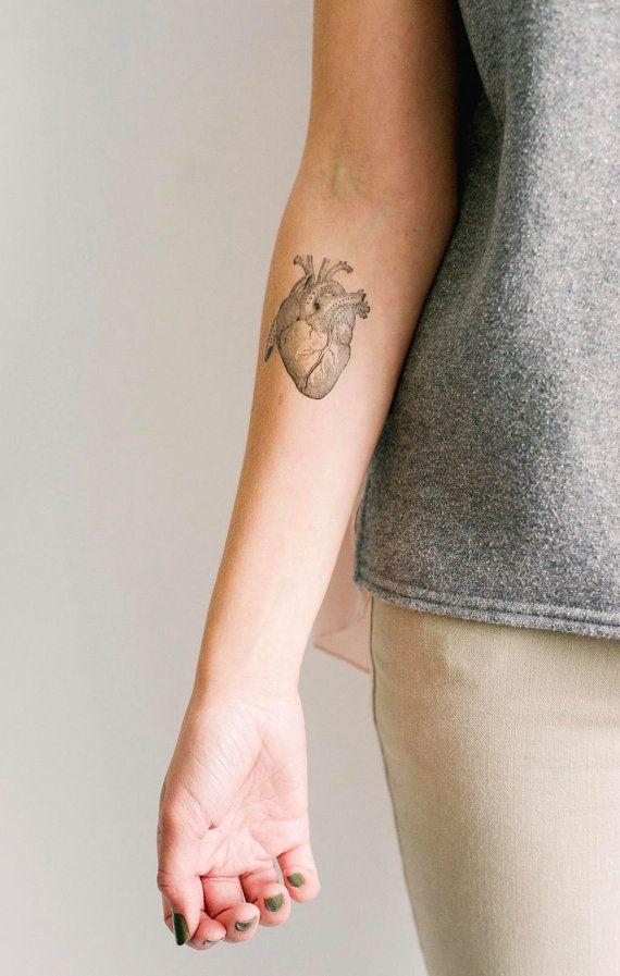 2 corazón anatómico temporal tatuajes - SmashTat