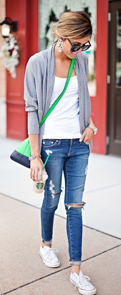 Cute soccer mom outfit -- ripped jeans, white tee, cocoon cardi, Converse!