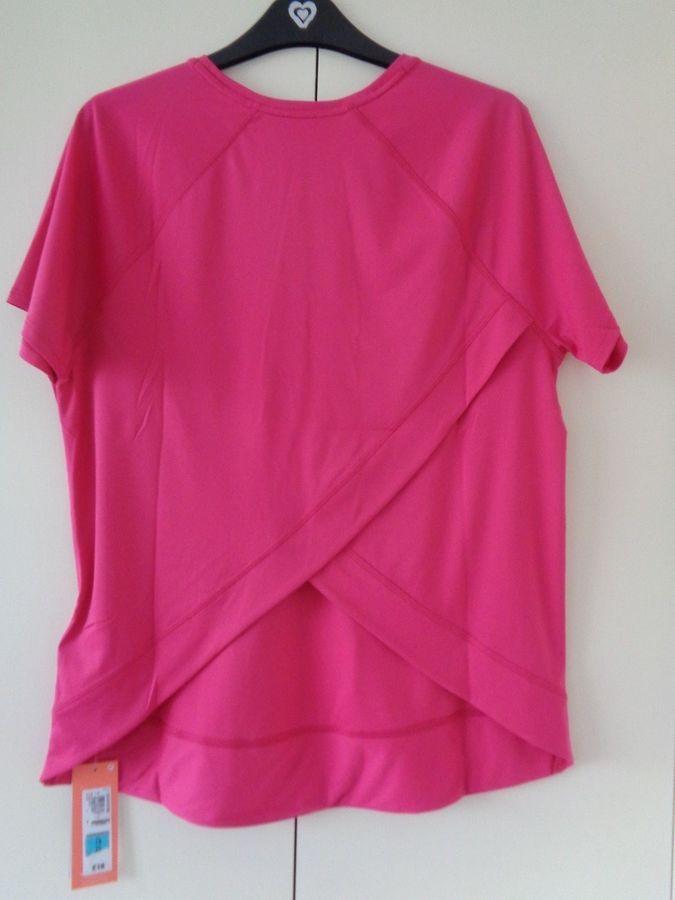 b06d0c1762e9 New M&S Active sportswear back wrap pink short sleeve T shirt top sz 14 # wrap#pink#sportswear