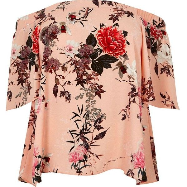River Island Plus pink floral print bardot top ($56) ❤ liked on Polyvore featuring tops, bardot / cold shoulder tops, pink, women, short sleeve tops, plus size floral tops, red cold shoulder top, pink plus size tops and pink top