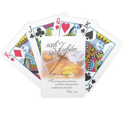 Golden Jubilee Religious Life Cross Candle Bicycle Playing Cards - golden gifts gold unique style cyo